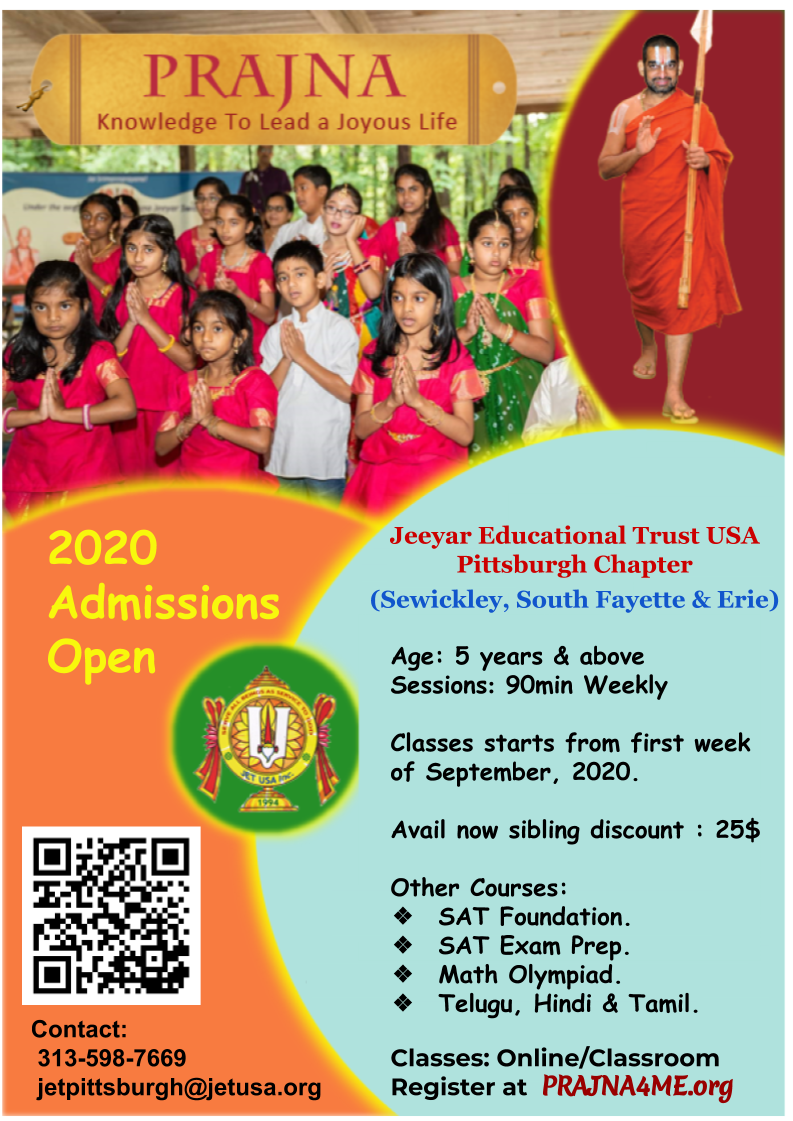JET Pittsburgh Chapter resumes prajna classes from Sep 13th 2020